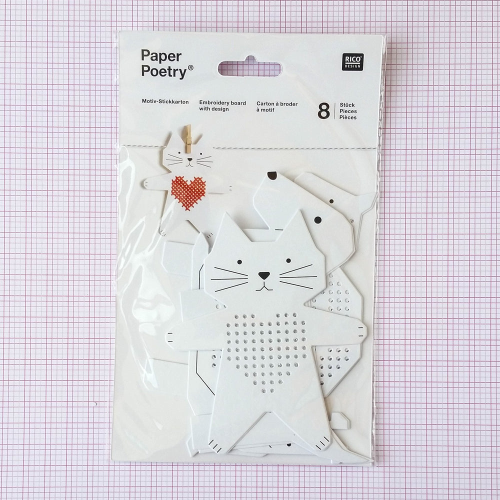 Cross stitch sewing cards by Rico Design - Cat, Dog, Horse, and Snail