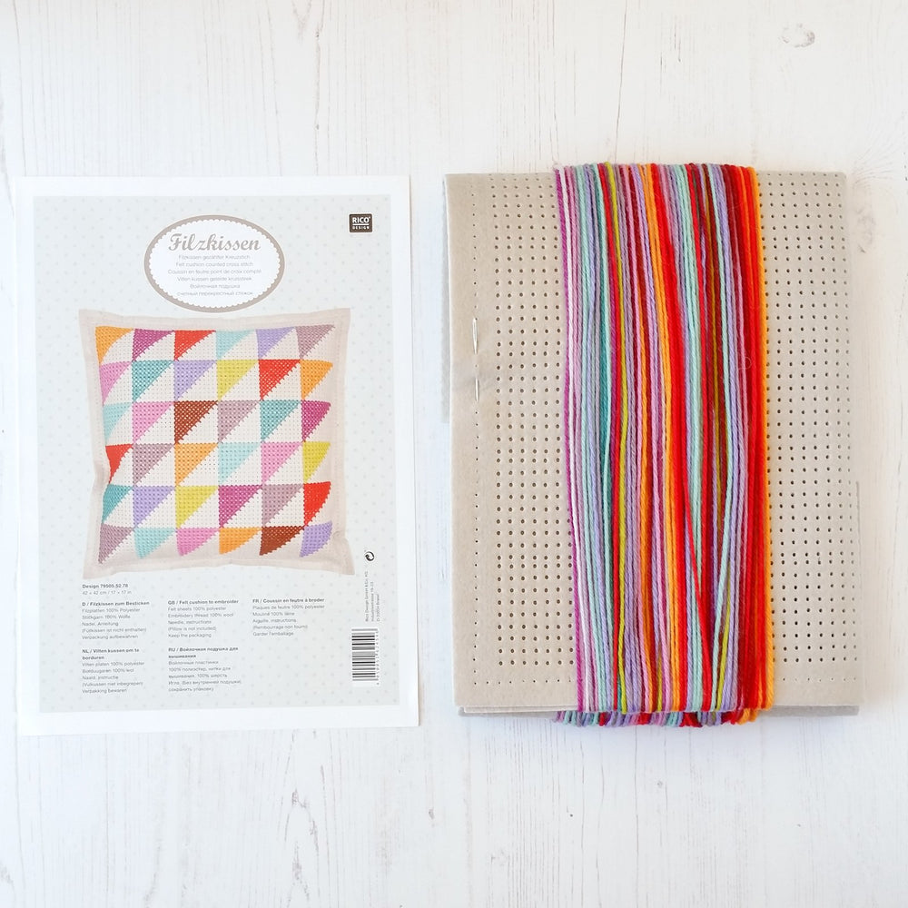 Modern Cross Stitch Pillow Kits : Cross Stitch Felt Pillow Kit - Geometric Triangles ? Stitched Modern