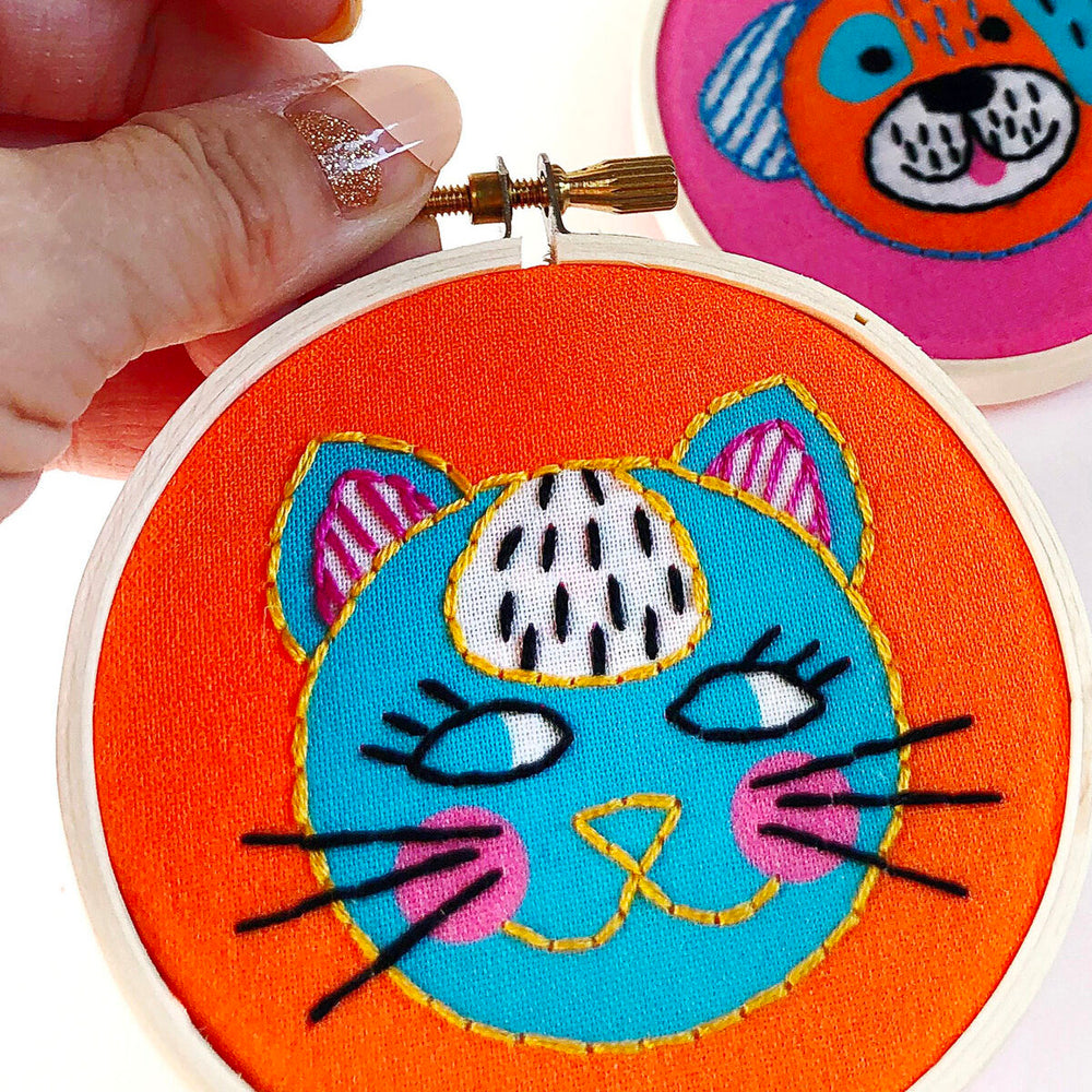 Cat and Dog Duo Mini Embroidery Kit