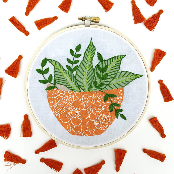 Orange Flower Pot Hand Embroidery Kit