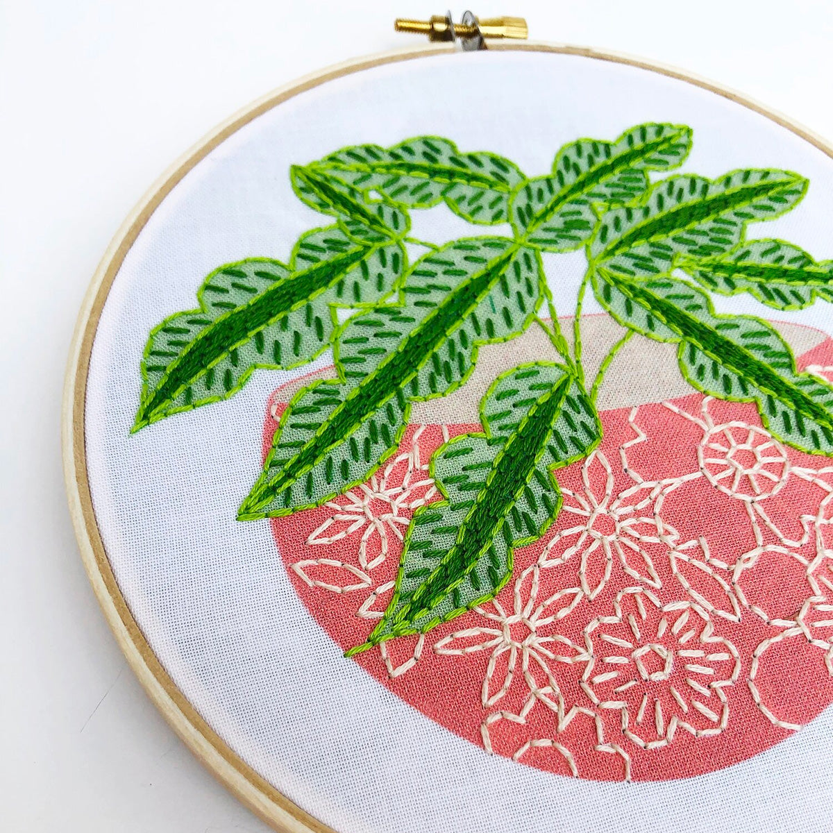 Pink Flower Pot Hand Embroidery Kit