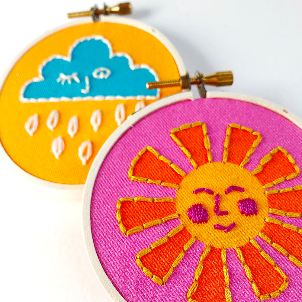 Sun and Clouds Duo Mini Embroidery Kit
