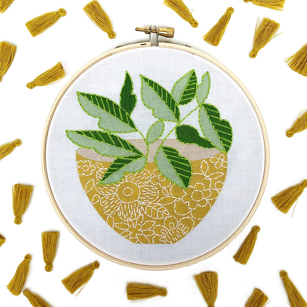 Yellow Flower Pot Hand Embroidery Kit