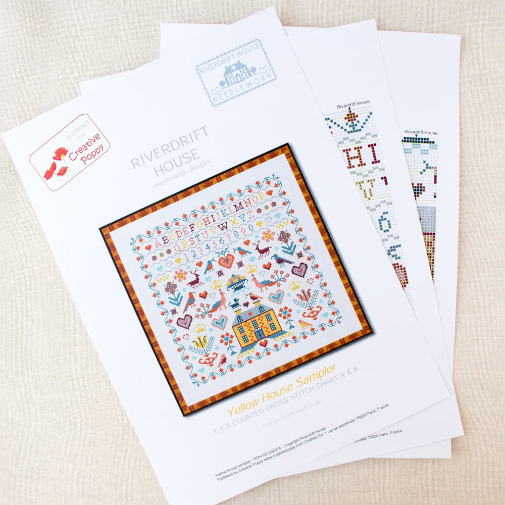 Yellow House Sampler Cross Stitch Pattern
