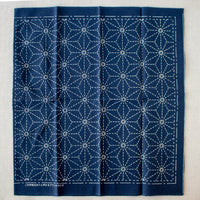 Japanese Sashiko Navy Blue Sampler Cloth - Six Point Star