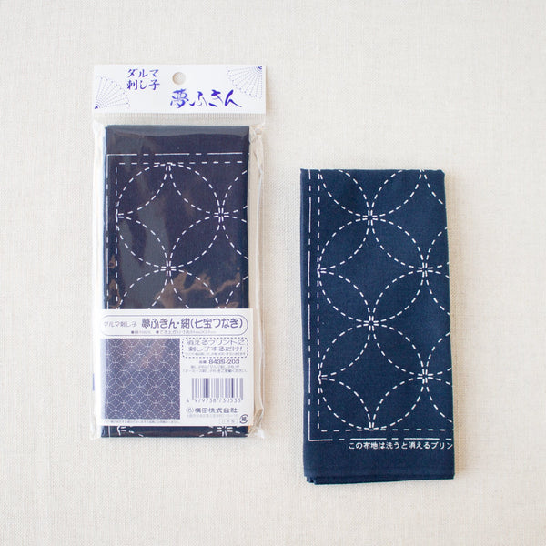 Japanese Sashiko Navy Blue Sampler Cloth - Interlocking Circles