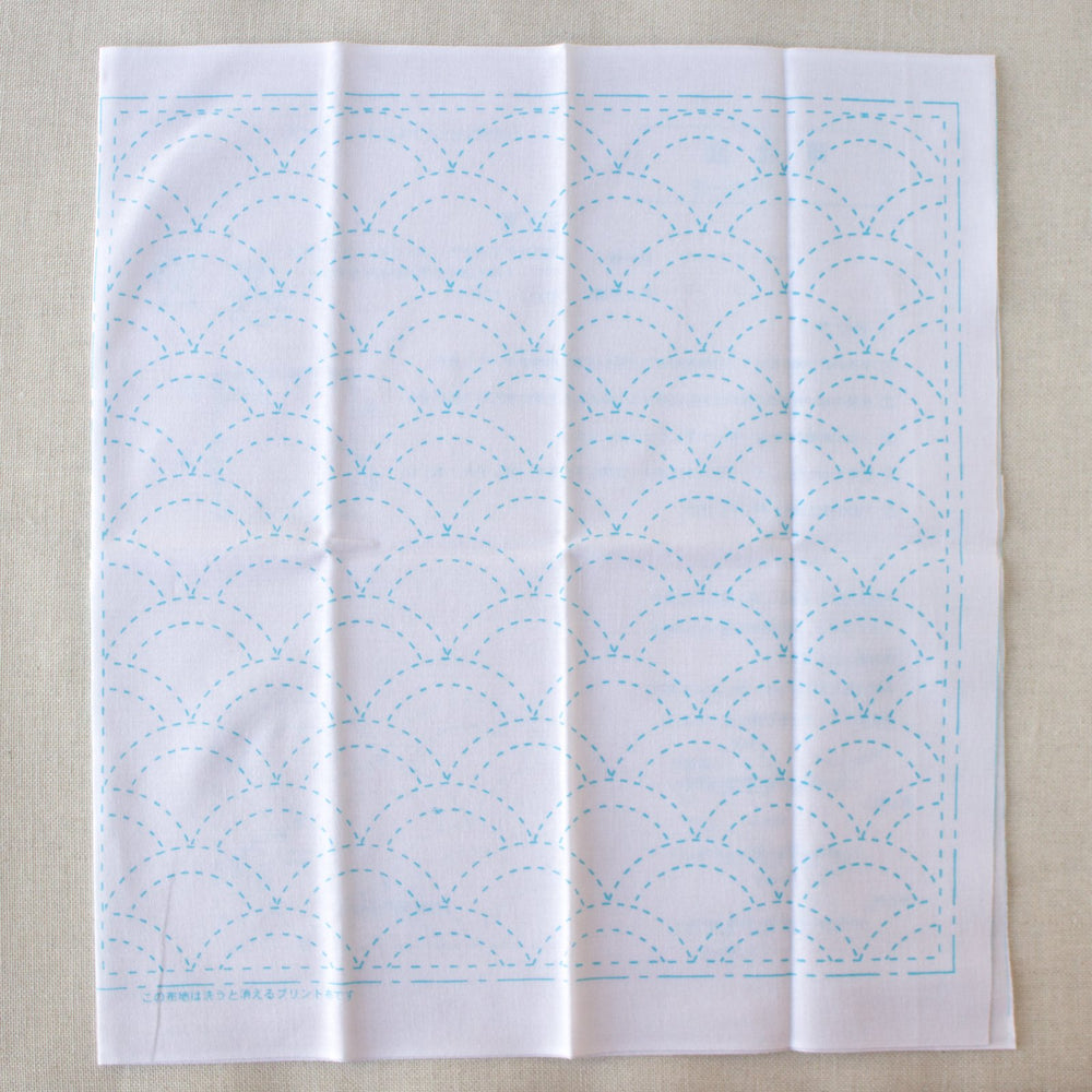 Japanese Sashiko White Sampler Cloth - Waves