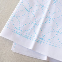 Japanese Sashiko White Sampler Cloth - Interlocking Circles
