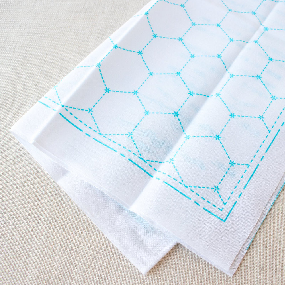 Japanese Sashiko White Sampler Cloth - Hexagons
