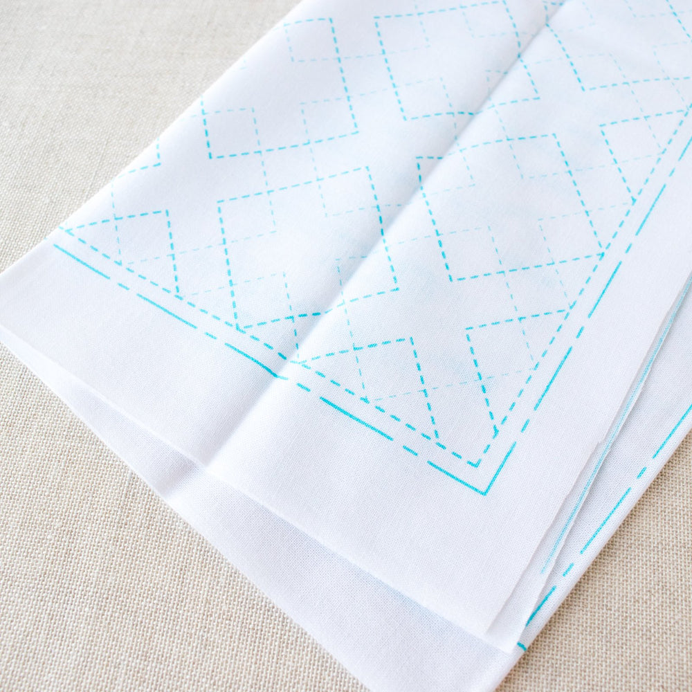 Japanese Sashiko White Sampler Cloth - Interlocking Diamonds