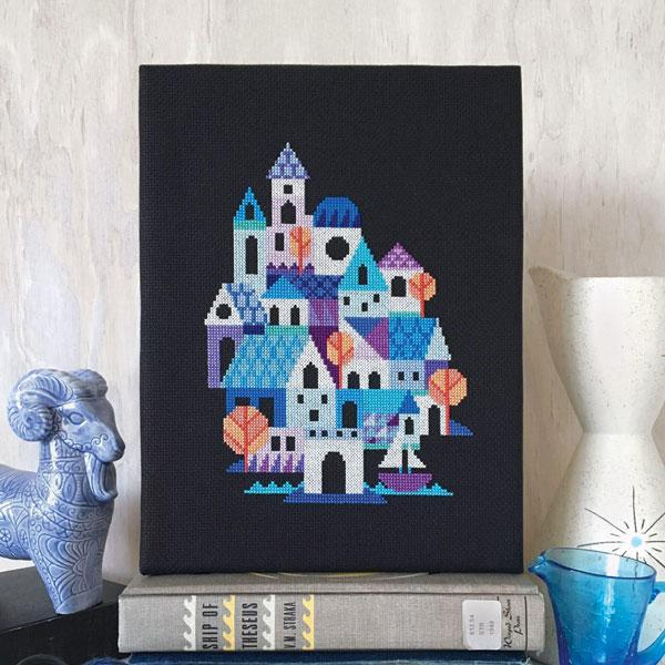 Blue Village Cross Stitch Pattern