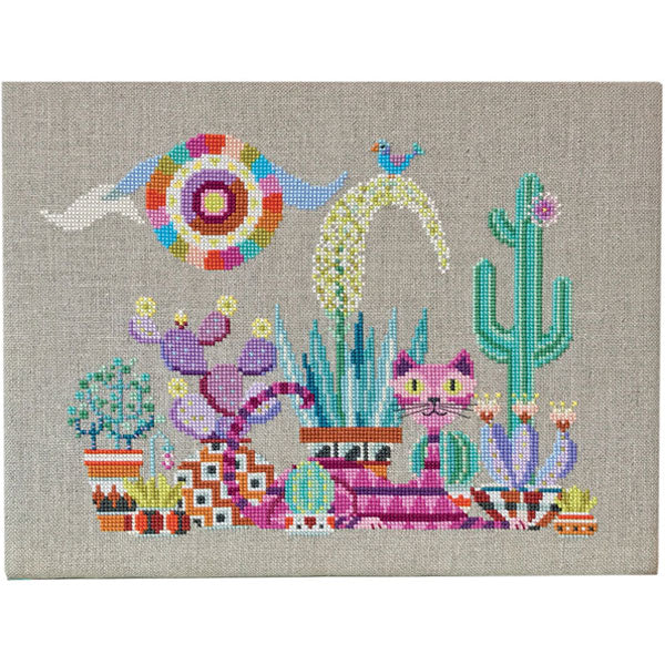 Cactus Cat Cross Stitch Pattern
