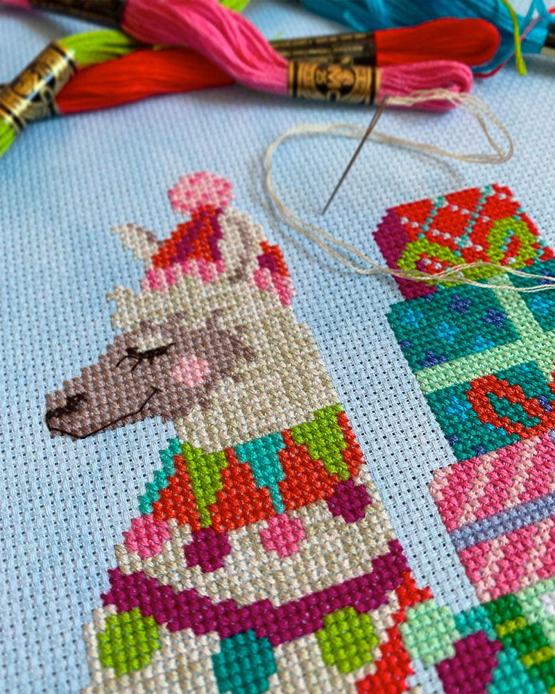 Fa-La-La-Llama Christmas Stocking Cross Stitch Pattern