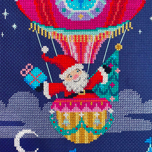 Sky High Santa Christmas Stocking Cross Stitch Pattern