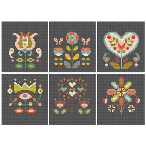 Folk Flowers Cross Stitch Pattern