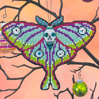 Goth Moth Halloween Cross Stitch Ornament Kit