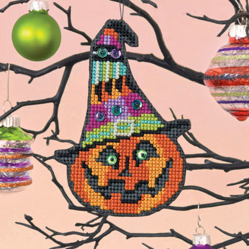 Miss Witch Halloween Cross Stitch Ornament Kit