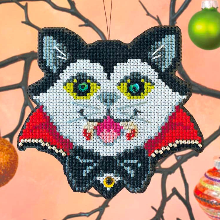 Vamp-purr Cross Stitch Ornament Kit