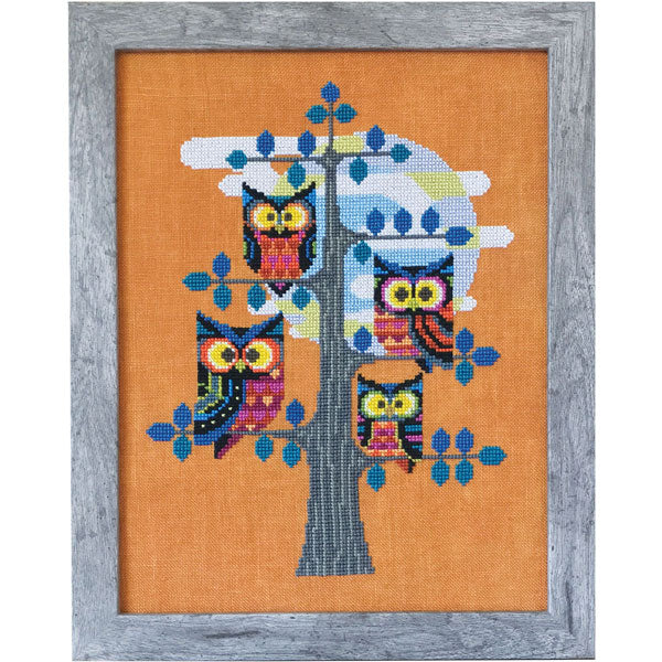 Whoo's There Owl Cross Stitch Pattern