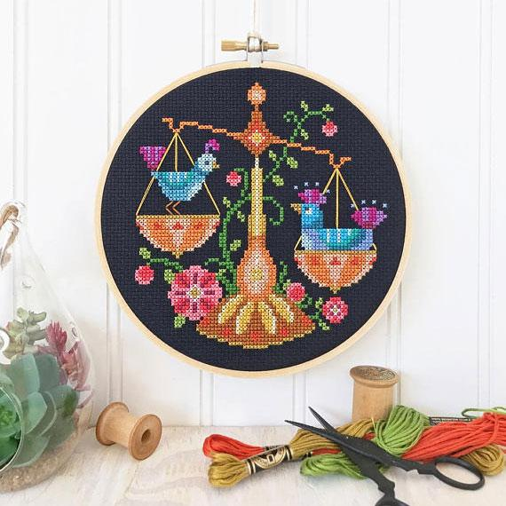 Zodiac Cross Stitch Pattern - Libra