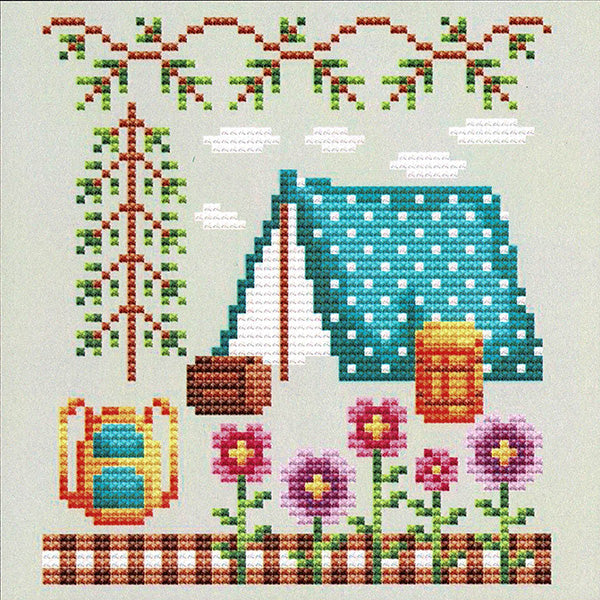 Happy Tent Cross Stitch Pattern
