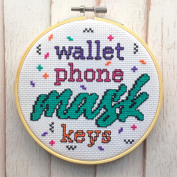 'Wallet, Phone, Mask, Keys' Cross Stitch Kit