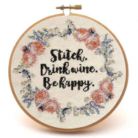 Stitch and Drink Wine Cross Stitch Pattern