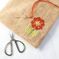 Jute Drawstring Bags for Cross Stitching (Set of 3)