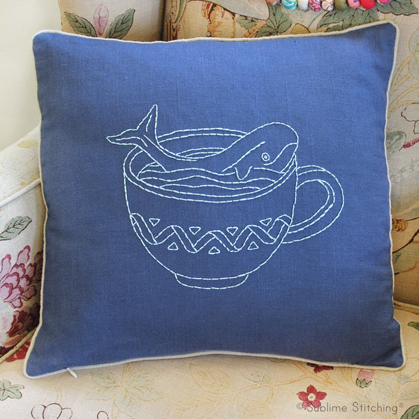 Pillow Cover Hand Embroidery Kit - Whale in a Teacup