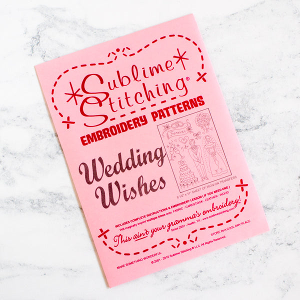 Sublime Stitching Hand Embroidery Iron-on Transfer Pattern - Wedding Wishes