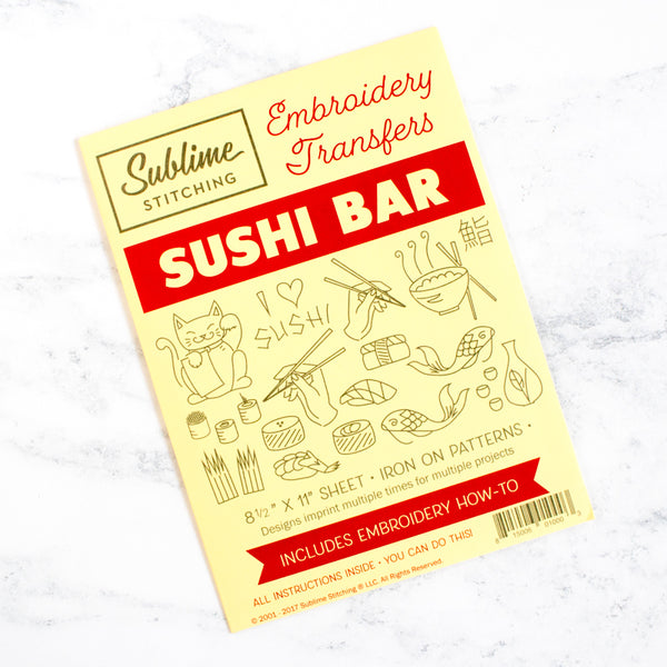 Sublime Stitching Hand Embroidery Transfer Pattern - Sushi Bar