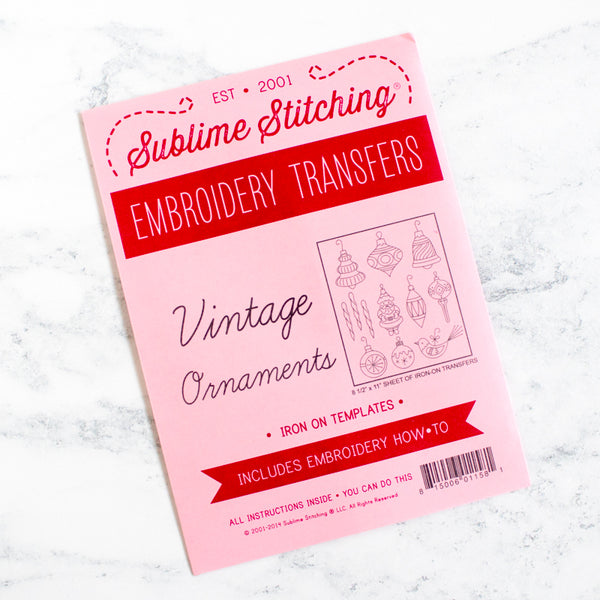 Sublime Stitching Hand Embroidery Transfer Pattern - Vintage Ornaments
