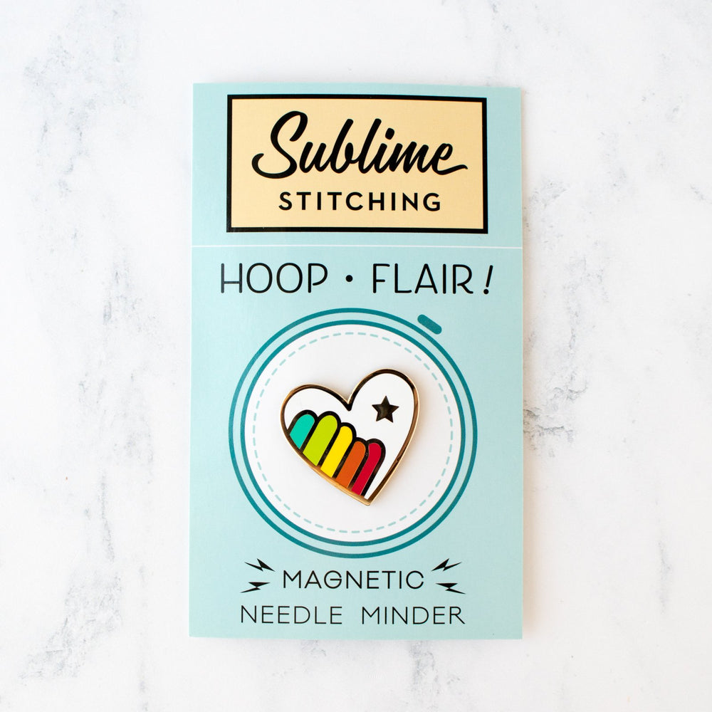 Magnetic Needle Minder Hoop Flair - Rainbow Heart (20% OFF)