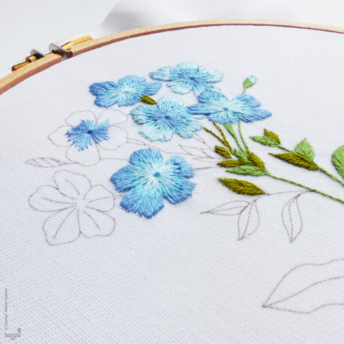 Blue Plumbago Hand Embroidery Kit
