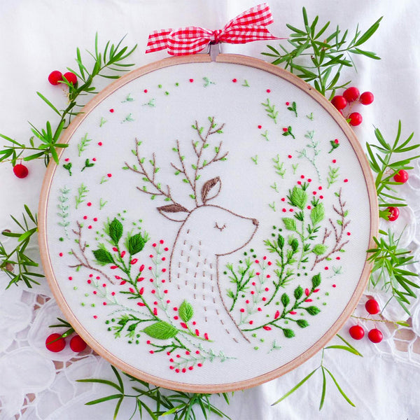 Christmas Deer Hand Embroidery Kit