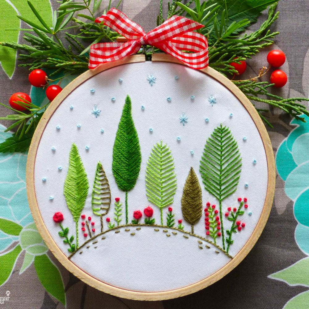 Christmas Forest Mini Hoop Hand Embroidery Kit