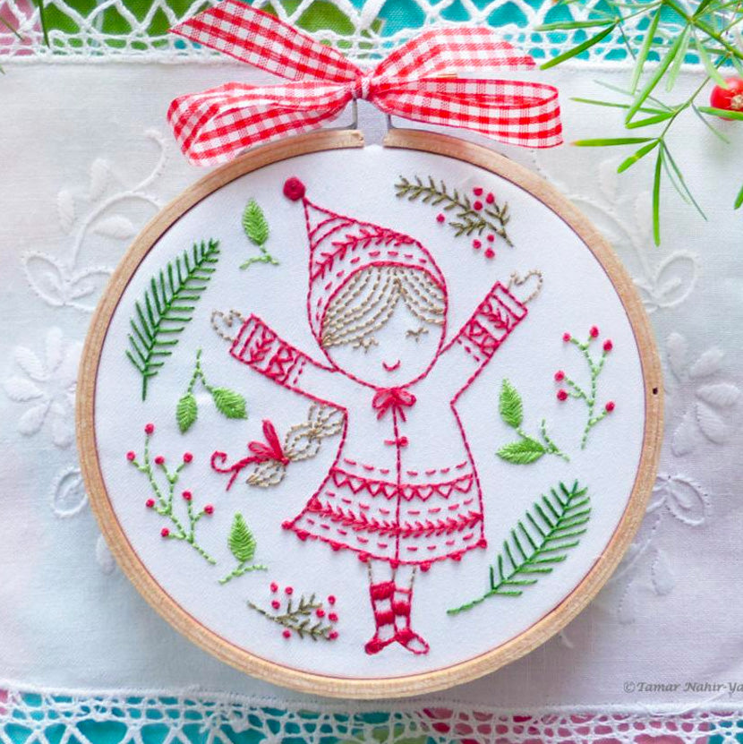 Christmas Girl Mini Hoop Hand Embroidery Kit