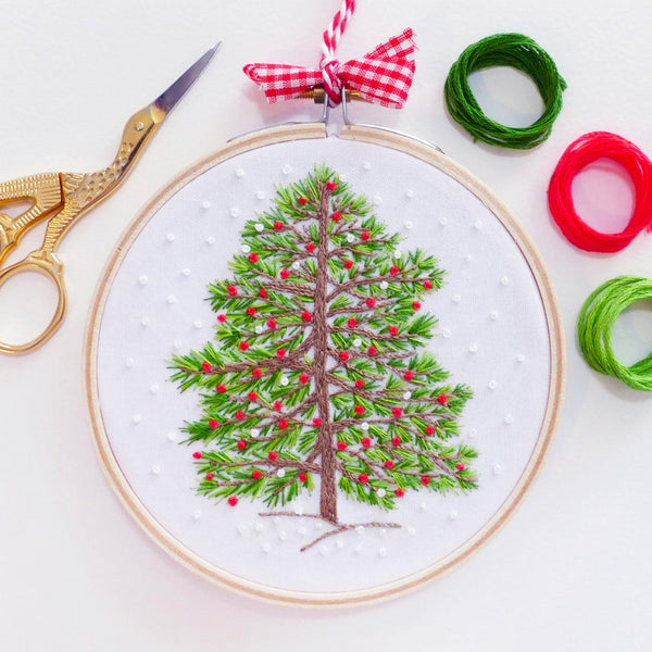 Christmas Tree Mini Hoop Hand Embroidery Kit