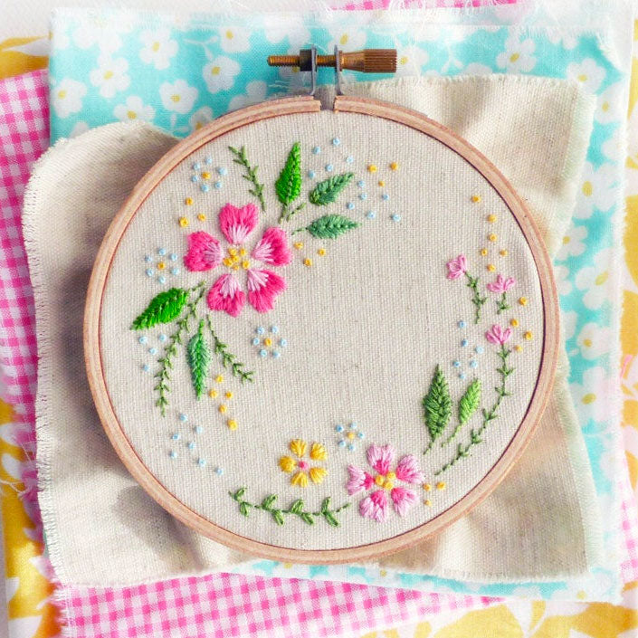 Circle of Flowers Mini Hoop Hand Embroidery Kit