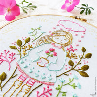 Cloud Raining Hearts Hand Embroidery Kit