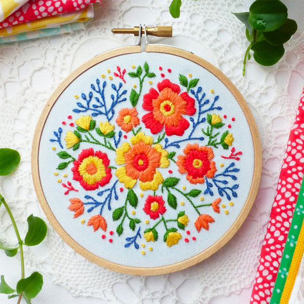 Colorful Flowers Mini Hoop Hand Embroidery Kit