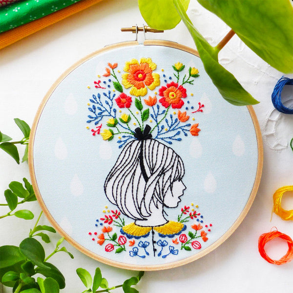Floral Lady Hand Embroidery Kit