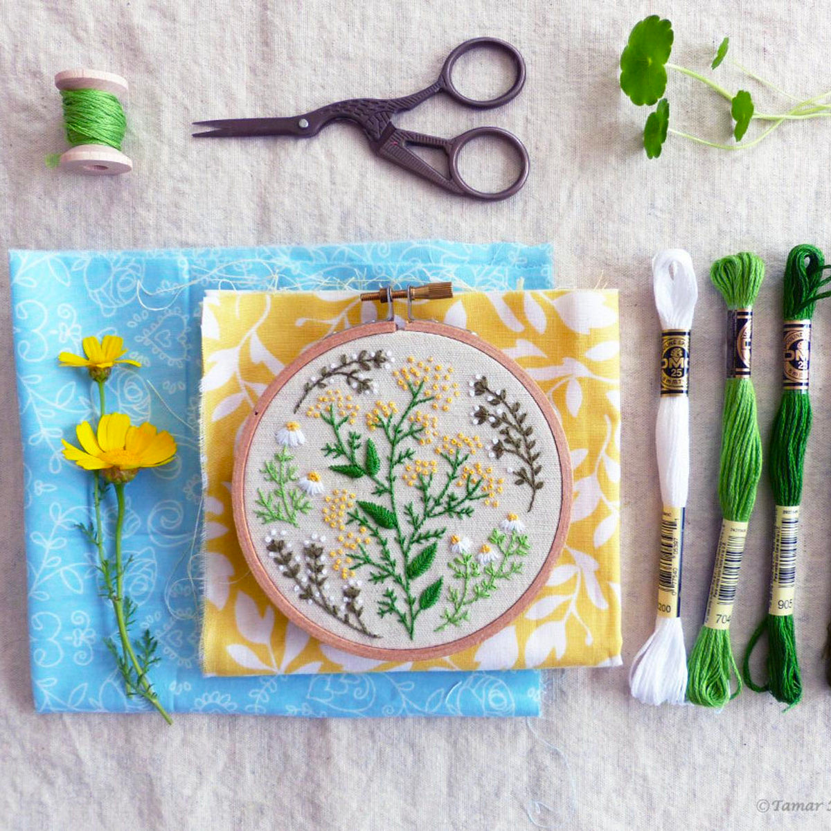 Green Garden Mini Hoop Hand Embroidery Kit