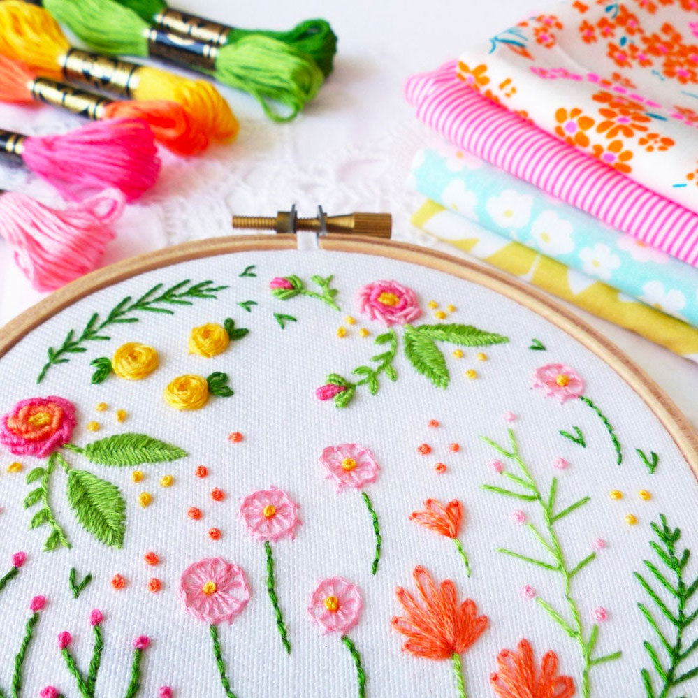 Happy Garden Mini Hoop Hand Embroidery Kit
