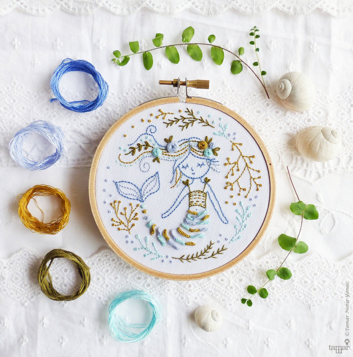 Mermaid Dreams Mini Hoop Hand Embroidery Kit