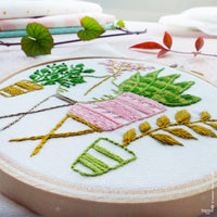 Pink and Green Houseplants Mini Hoop Hand Embroidery Kit