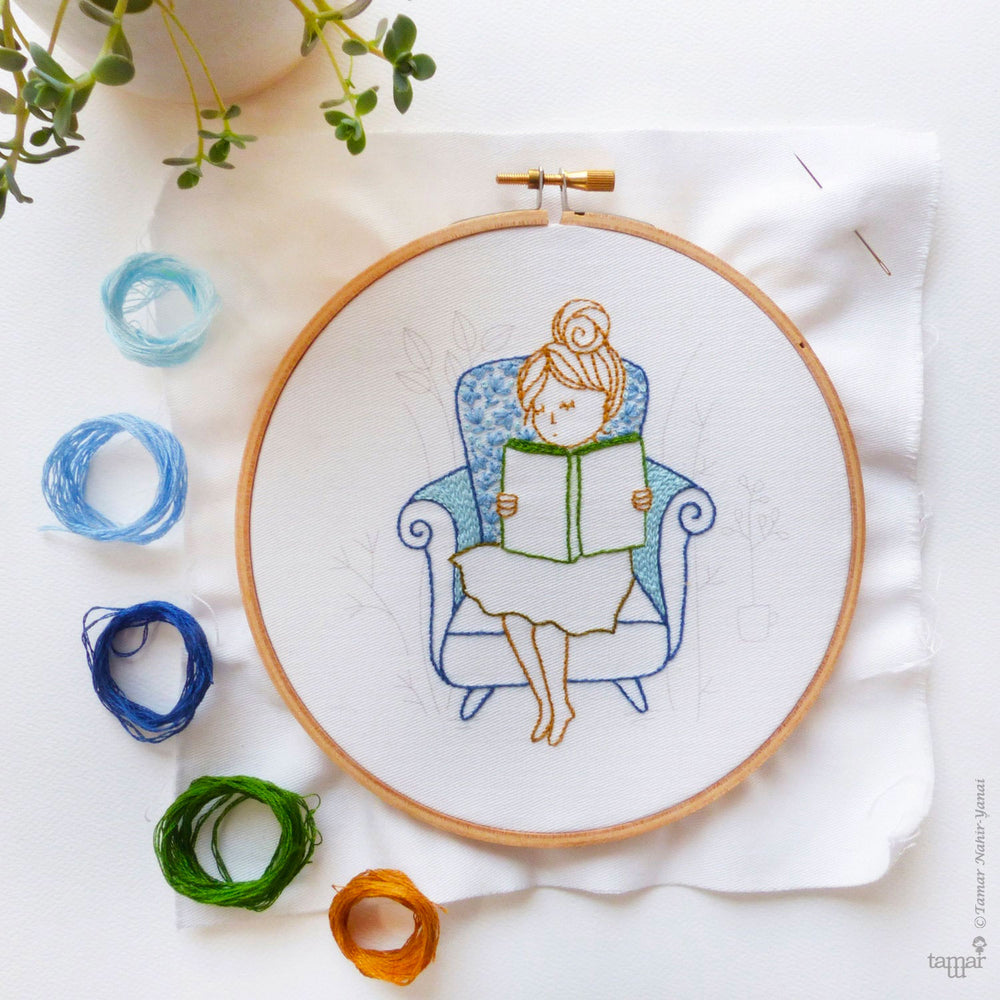 Reading Time Hand Embroidery Kit
