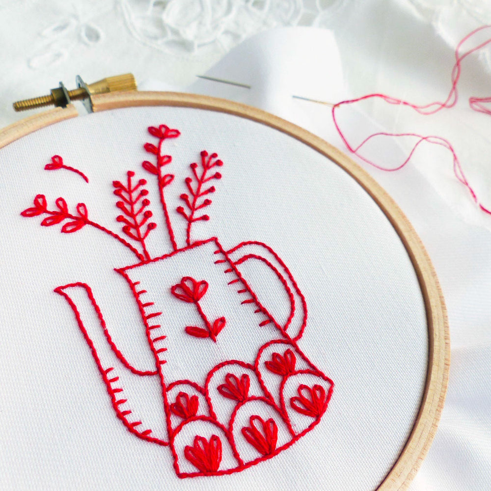 Redwork Vase Mini Hoop Hand Embroidery Kit