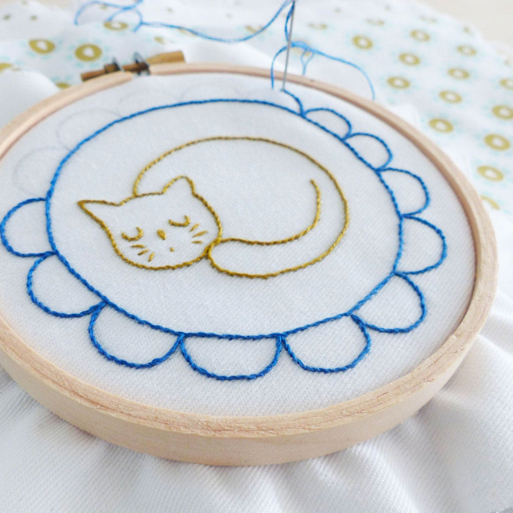Sleepy Cat Mini Hoop Hand Embroidery Kit