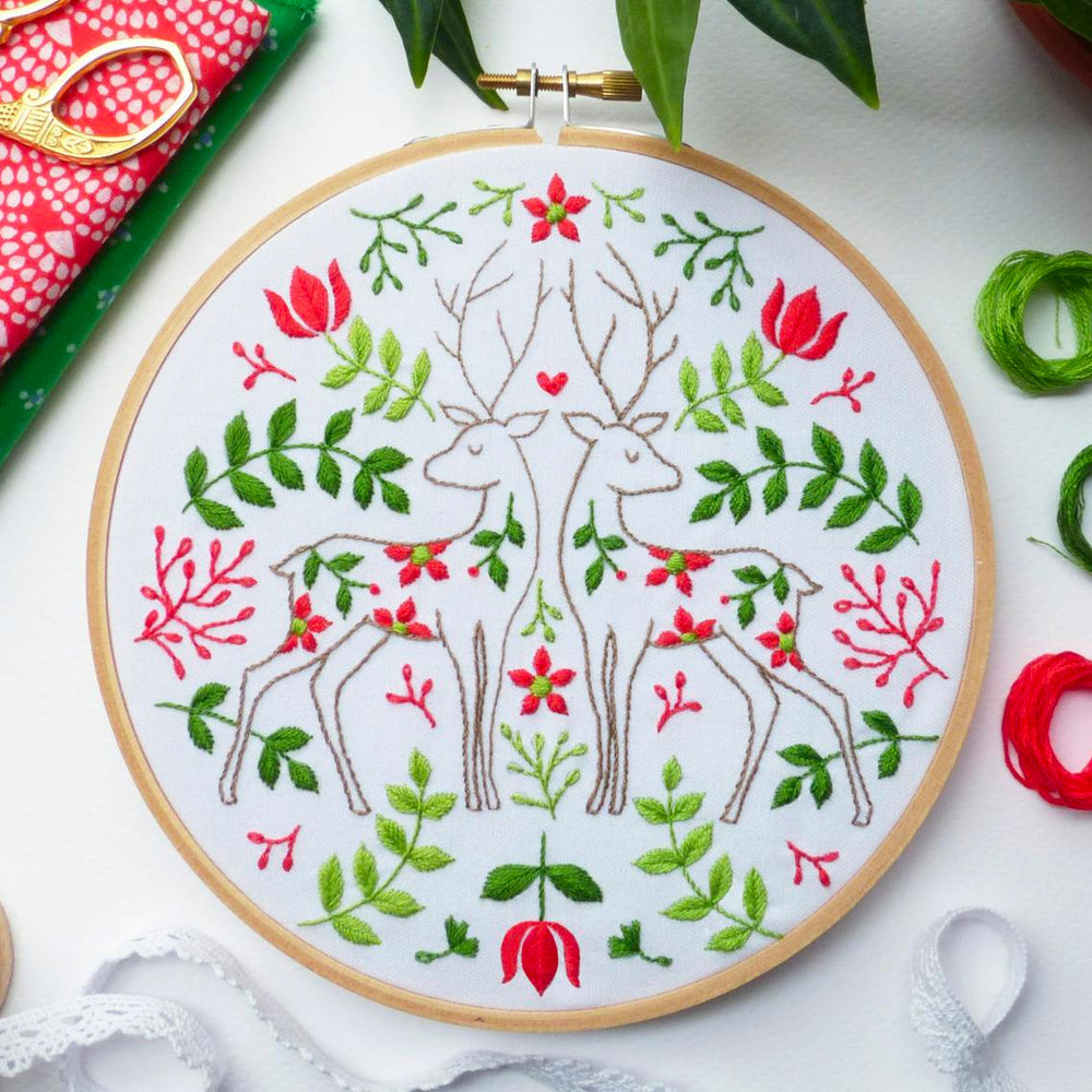 Two Christmas Deer Hand Embroidery Kit